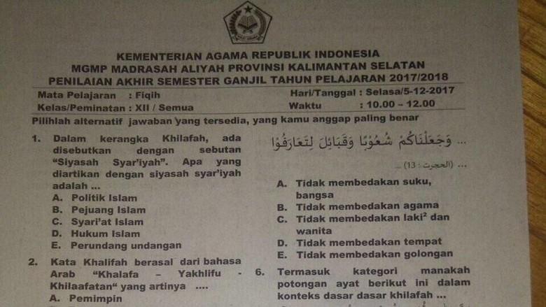Kemenag Tarik Soal Ujian Madrasah Bahas Khilafah yang Viral