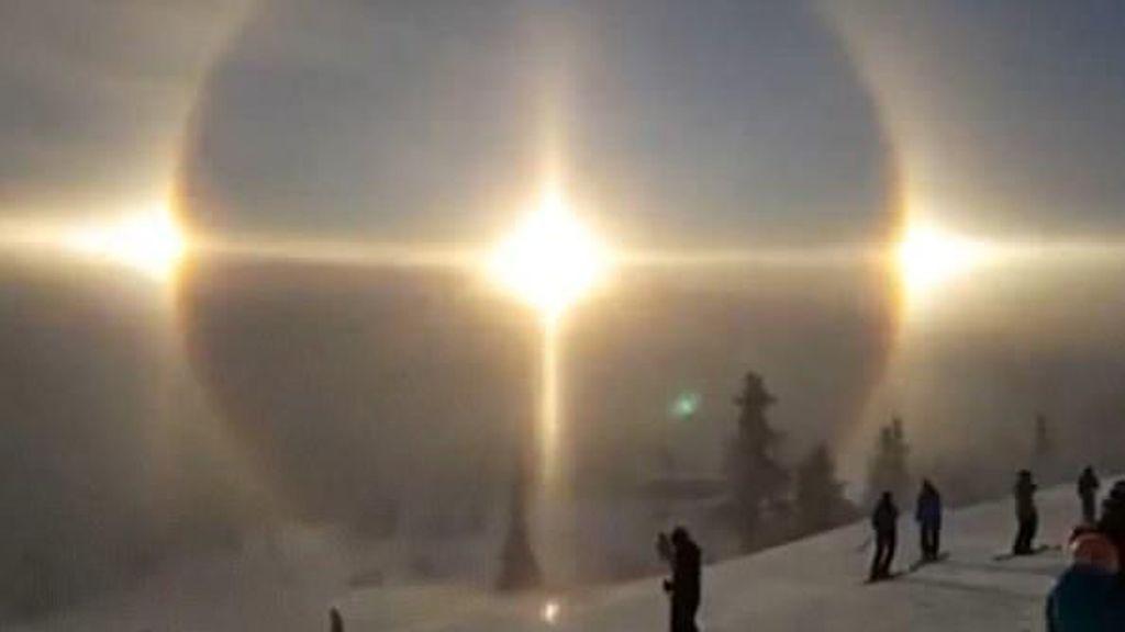 Traveler Rekam Penampakan 3 Matahari di Langit Swedia