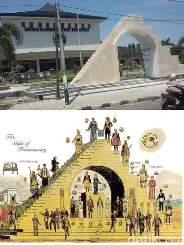 Perbandingan bentuk kedua bangunan tersebut viral di media sosial