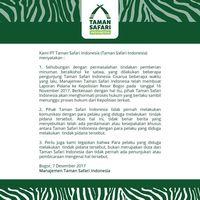 Pernyataan Taman Safari Indonesia.