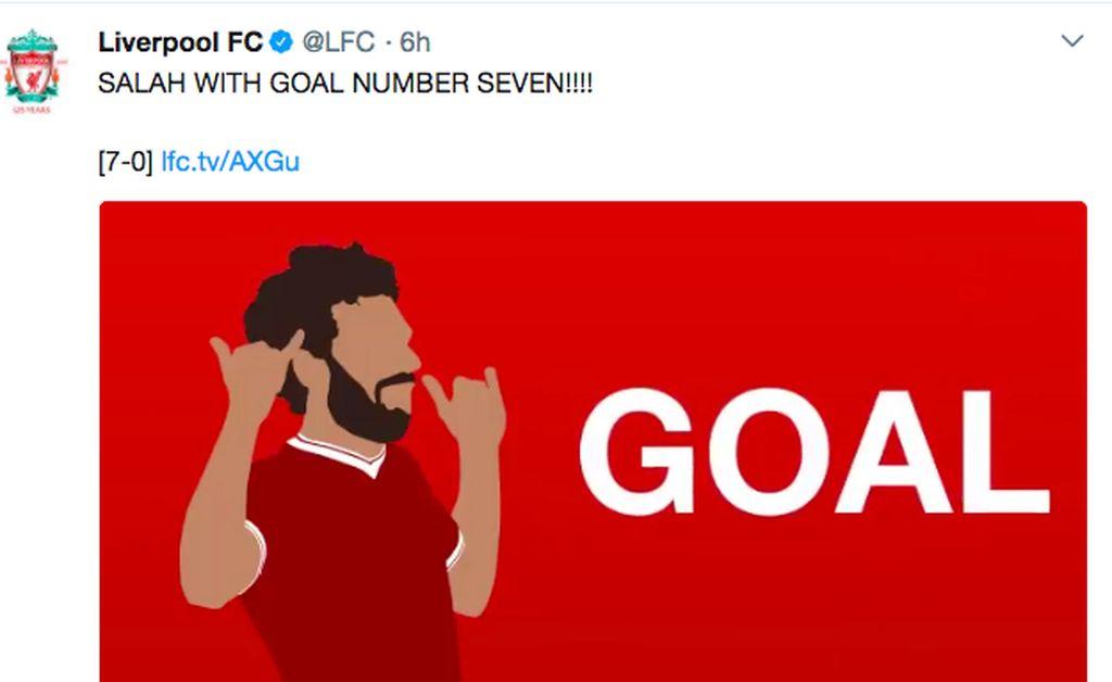 Gol ke 7 yang dicetak Mo Salah pun dirayakan di Twitter. Foto: istimewa