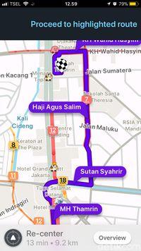 Rute dialihkan menghindari jalan di mana motor dilarang melintas