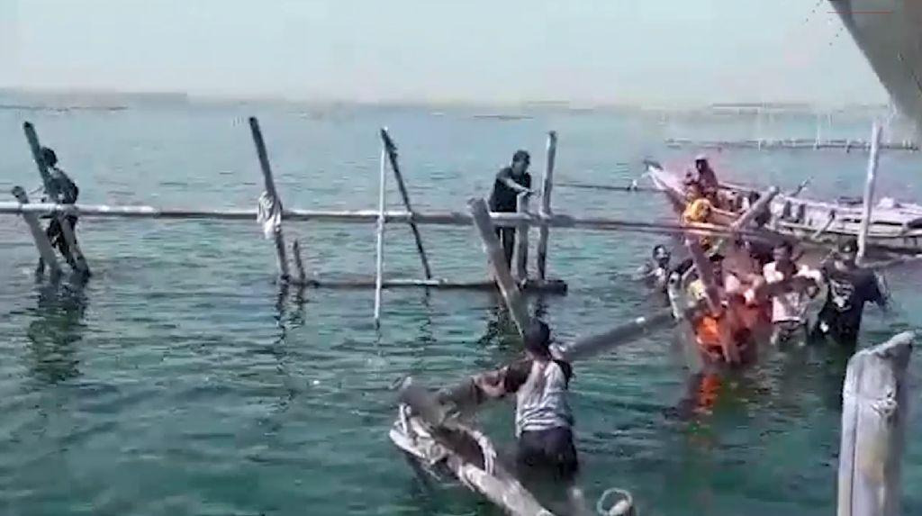 Ganggu Alur Pelayaran, Ratusan Bagan Nelayan Dibongkar Satpol PP