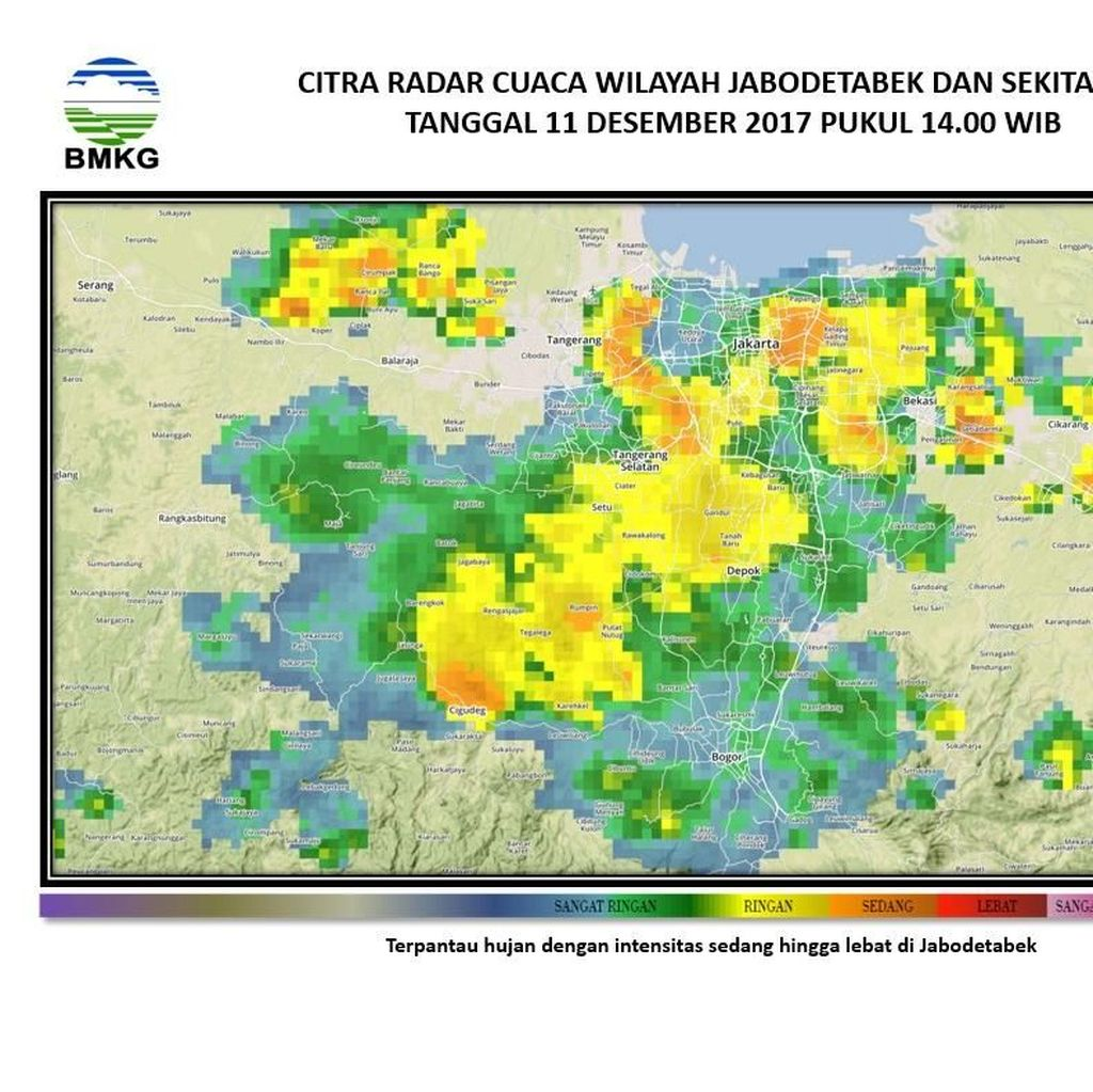 Citra Satelit Ungkap Bervariasinya Hujan di Jakarta sampai Bogor