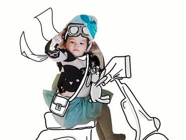 Tadi naik skuter, sekarang Banksii mau keliling kota naik vespa ah... (Foto: Instagram/ @thuie)