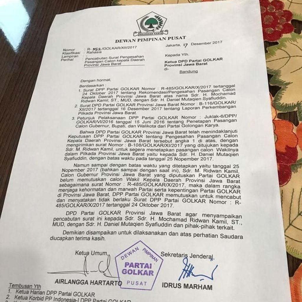 Begini Isi Surat Pencabutan Dukungan Golkar untuk Ridwan kamil