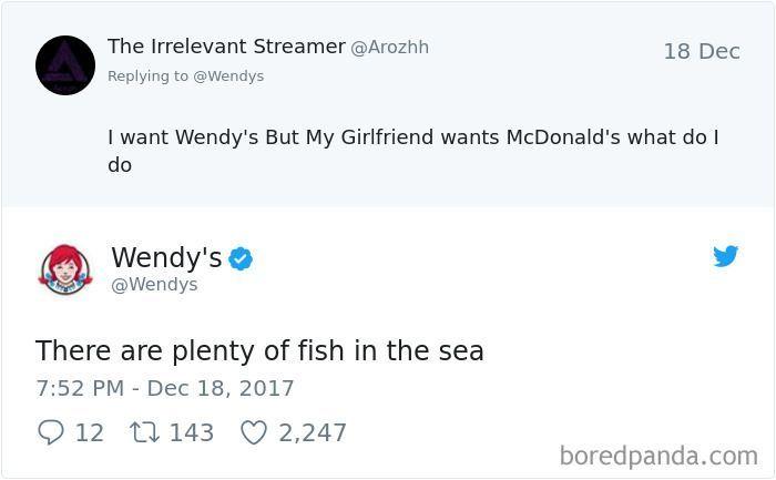 Wendy's menyuruh netizen cari pacar baru nih saat sang pacar mau ke McD. Foto: Istimewa