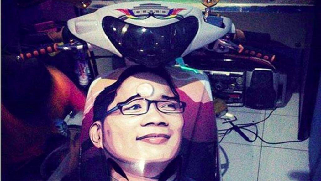 Kocak, Motor Modifikasi Ini Bergambar Ridwan Kamil yang Benjol