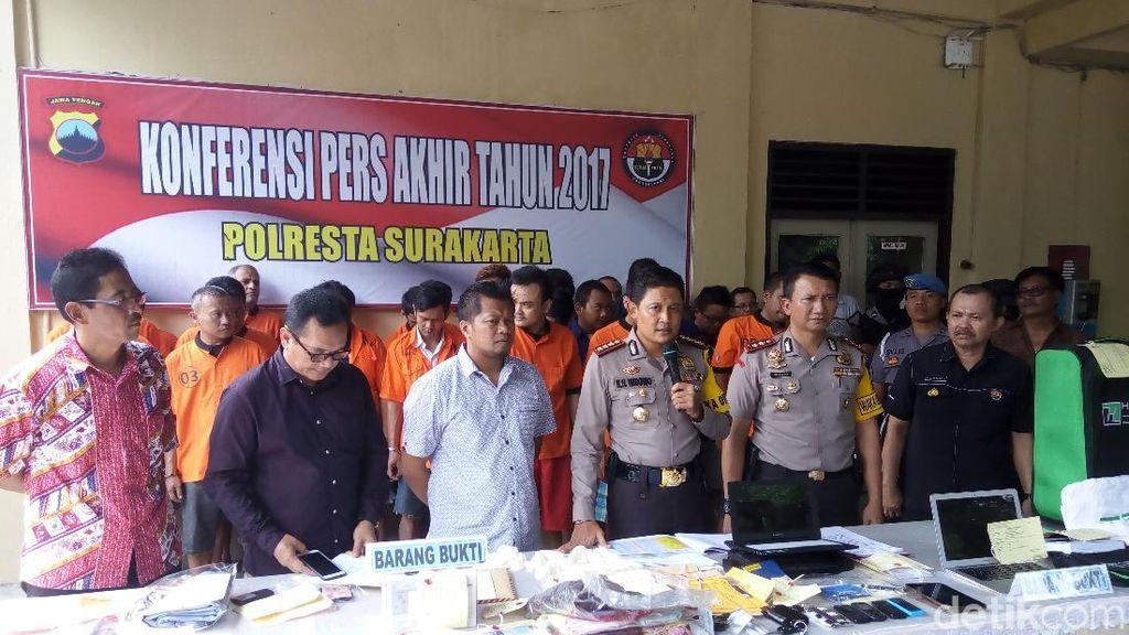 Sepanjang 2017 Kasus Kriminal di Solo Menurun, Narkoba Meningkat