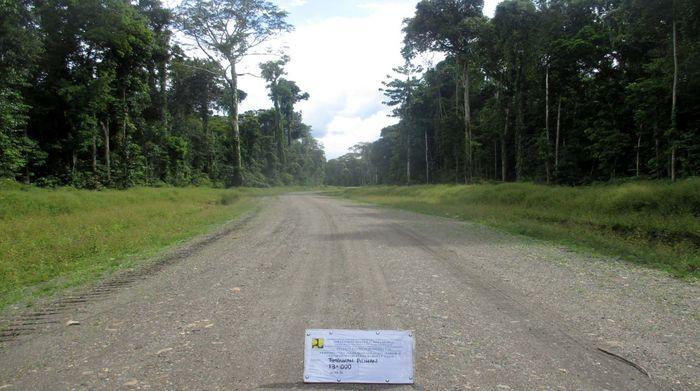Nampak jalan meliuk yang sudah diperkeras tembus kawasan hutan rimbun hijau yang indah. Pool/BP Jalan Nasional XVII Papua Barat.