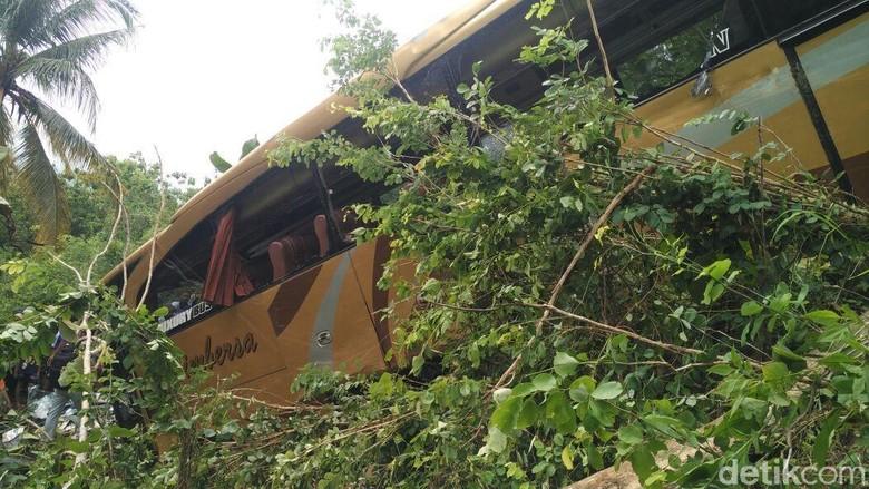 Penampakan Bus Pariwisata yang Masuk Jurang di Bantul