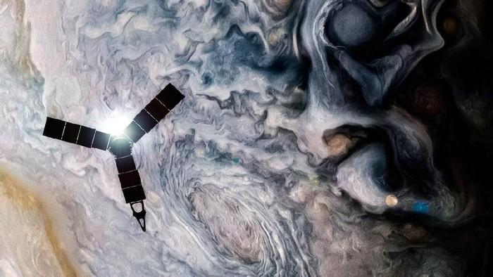 Ilustrasi Juno mengorbit di atas Jupiter (Foto: NASA/JPL-Caltech/SwRI/MSSS/Kevin Gill)