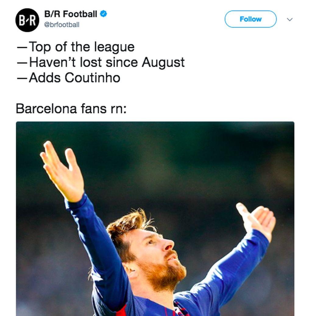 Fans Barcelona sedang semringah karena memuncaki liga, lama tidak kalah dan sekarang mendatangkan Coutinho. Foto: Istimewa