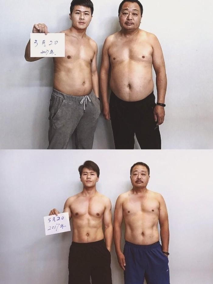Guoliang sengaja membuat dirinya lebih gemuk agar bisa menemani ayahnya diet. (Foto: Instagram/xyjesse)