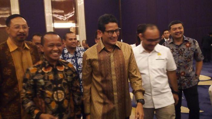 Foto: Wakil Gubernur DKI Jakarta Sandiaga Uno menghadiri perayaan Natal bersama Himpunan Pengusaha Muda Indonesia (HIPMI). (Haris Fadhil-detikcom)