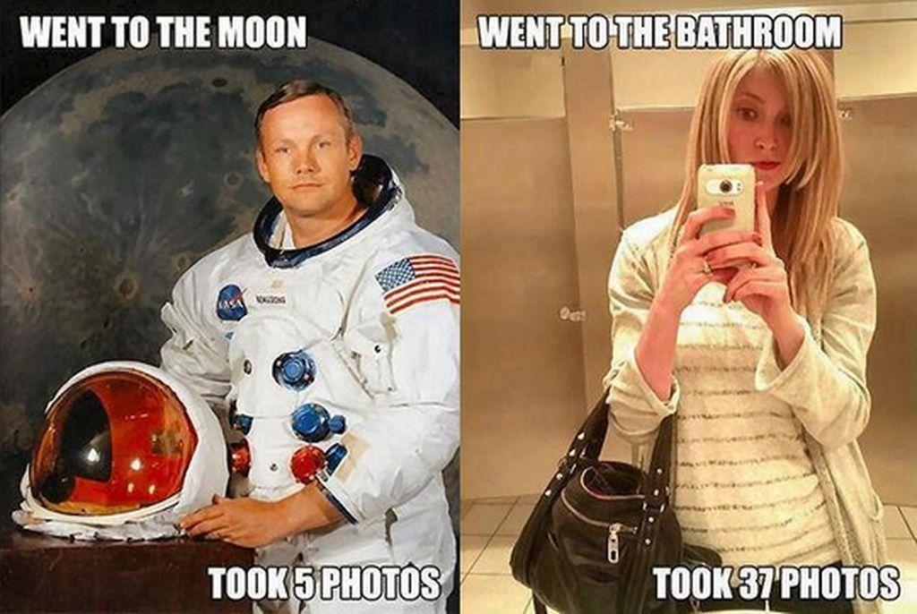Digambarkan dalam meme ini astronot pergi ke bulan hanya menjepret 5 foto sedangkan perempuan di kamar mandi mengambil jauh lebih banyak foto. Foto: istimewa