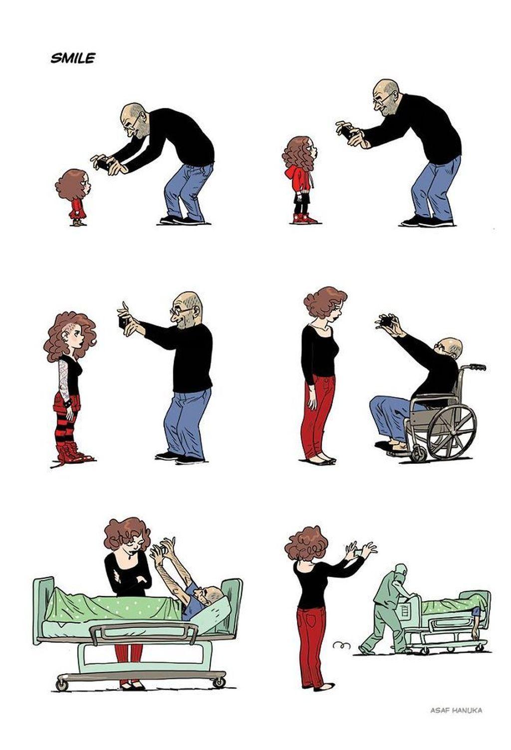 Gambar ini menceritakan dari wanita ini masih kecil hingga dewasa, sang ayah selalu memotretnya dengan sebuah ponsel. Sampai akhirnya ayahnya meninggal, si anak pun gantian yang memotret. (Foto: Asaf Hanuka)
