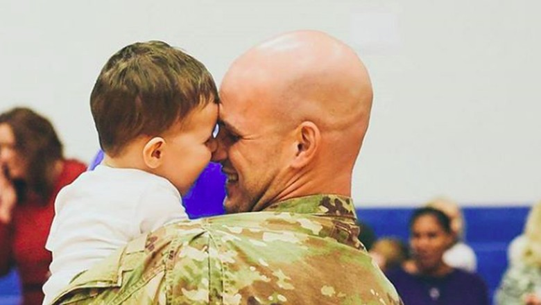 Seth Howard, ayah yang melepas rindu pada anaknay setelah 11 bulan tak bertemu (foto: instagram/ @bighousephotos)