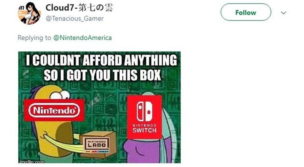 Karena tidak punya uang jadi Nintendo cuma bisa kasih kardus. (Foto: Twitter)