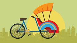 Becak di Jakarta