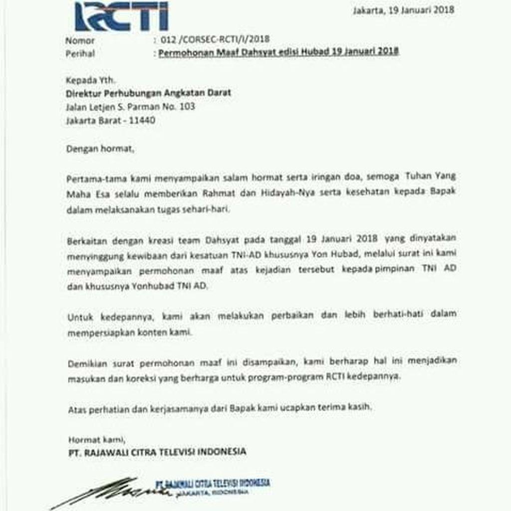 Diprotes TNI AD, Pihak RCTI Minta Maaf