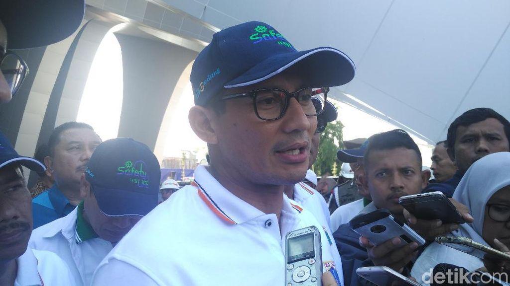 Beton LRT Roboh, Sandiaga: Jangan  Kompromi Walau Dikejar Target