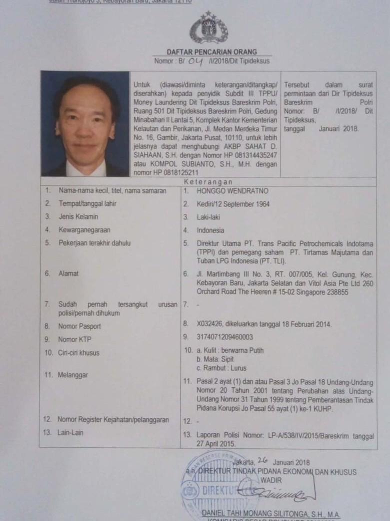Bareskrim Terbitkan DPO Honggo Wendratno