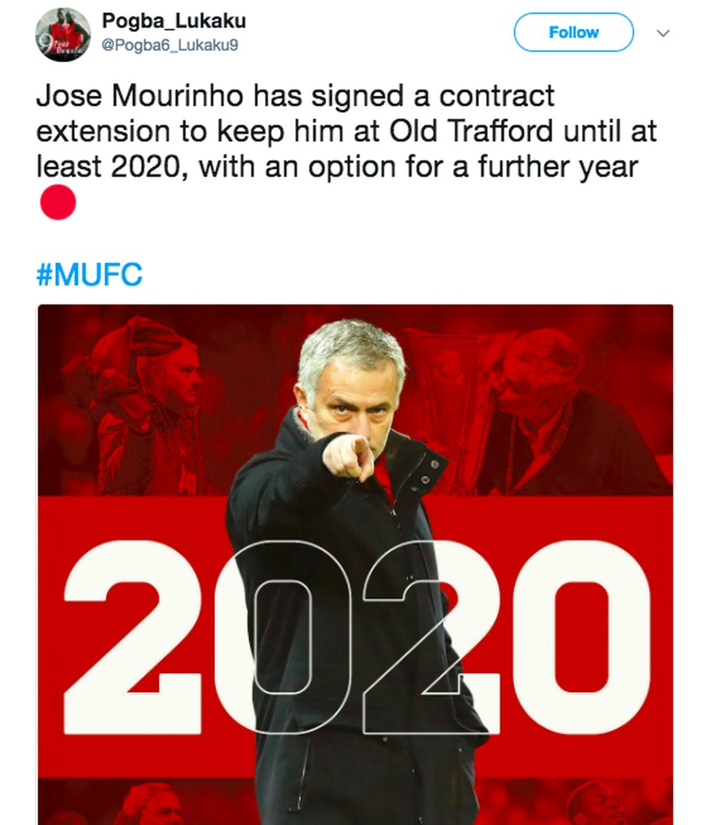 Sebuah akun Twitter mengatasnamakan Pogba Lukaku menggambarkan Mourinho dengan latar belakang 2020. Foto: istimewa