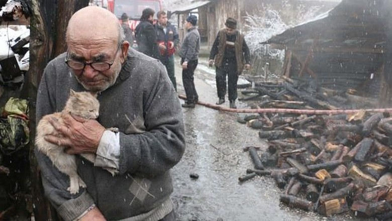 Viral Foto Kakek Peluk Kucing Usai Kebakaran, Publik Galang Dana