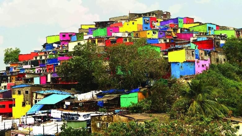 Foto: Bangunan yang berwarna-warni di Asalpha, Mumbai (Reuters)