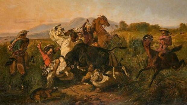 Lukisan Raden Saleh berjudul 'Perburuan Banteng'