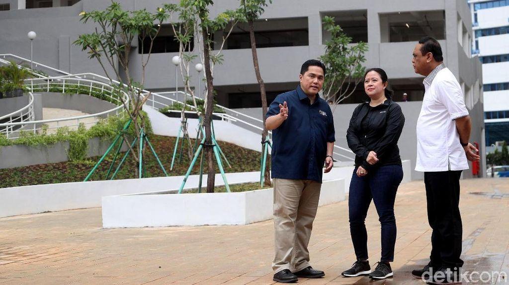 Bergaya Kasual, Menko Puan Tinjau Wisma Atlet Kemayoran untuk Asian Games