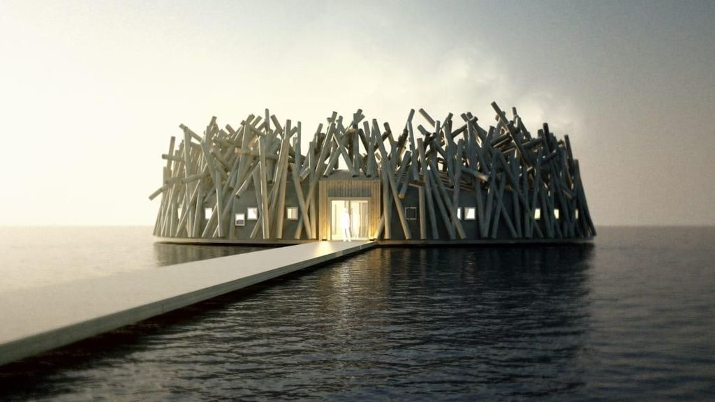 Swedia Punya Hotel Terapung di Sungai