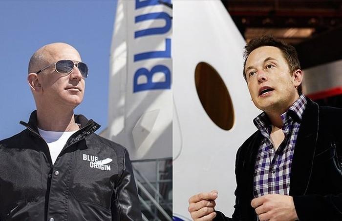 Jeff Bezos dan Elon Musk. Foto: CNN