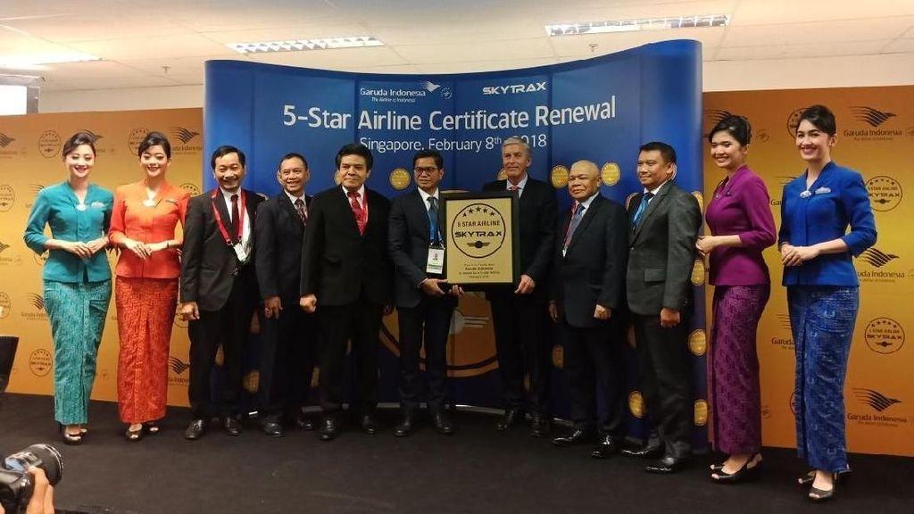 Garuda Pertahankan Predikat Maskapai Bintang Lima Skytrax