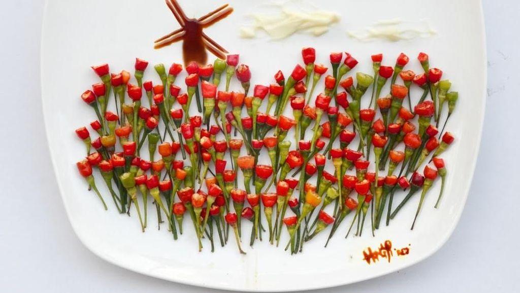Unik! Kebun Tulip hingga Petronas Tower Dilukis dengan Makanan di Atas Piring