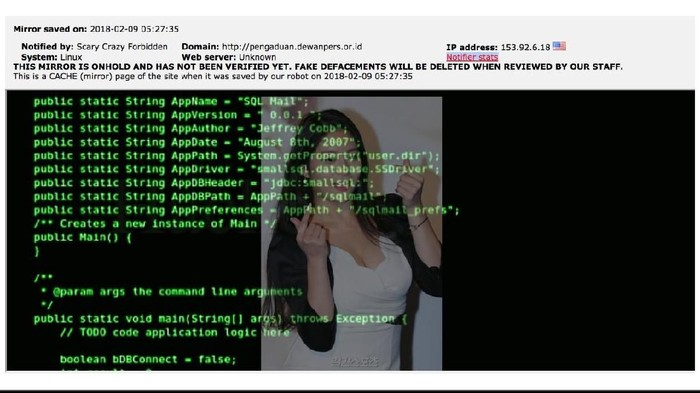Foto: Screenshoot situs Dewan Pers yang diretas