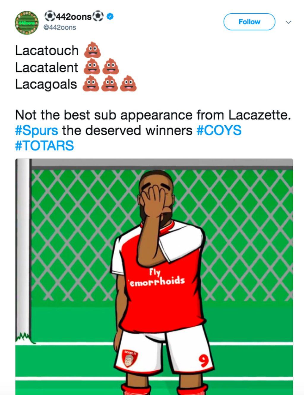 Datang sebagai pemain pengganti, Lacazette gagal menyelamatkan Arsenal sehingga media sosial ramai-ramai dengan konten kritikan terhadapnya dalam bentuk teks maupun gambar. Meme ini menggambarkan sentuhan, talentanya dan golnya mandek semalam. Foto: istimewa