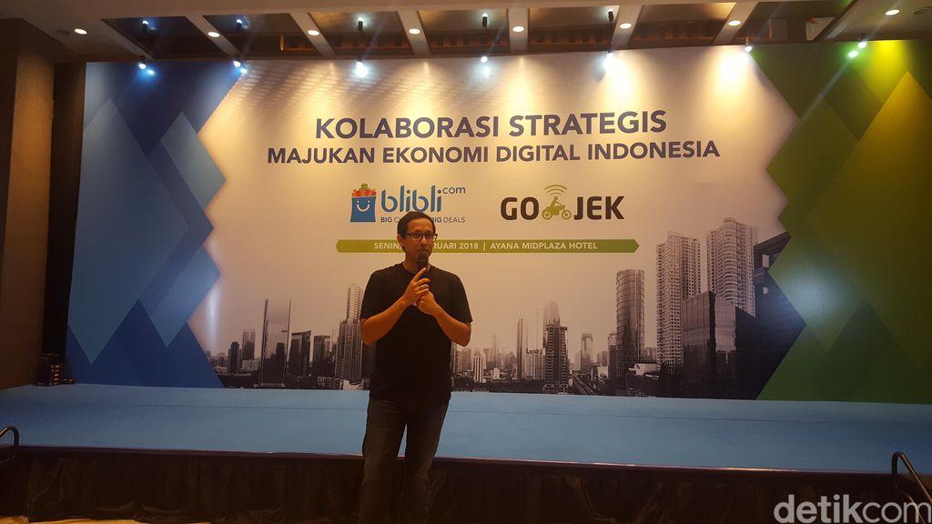 Nadiem Makarim, CEO Go-Jek, membuka acara dengan memberikan kata sambutan terkait dengan fokus kolaborasi terhadap UMKM. (Foto: detikINET/Muhamad Imron Rosyadi)