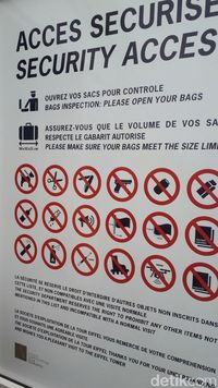 Barang-barang yang dilarang dibawa ke Menara Eiffel (Afif Farhan/detikTravel)