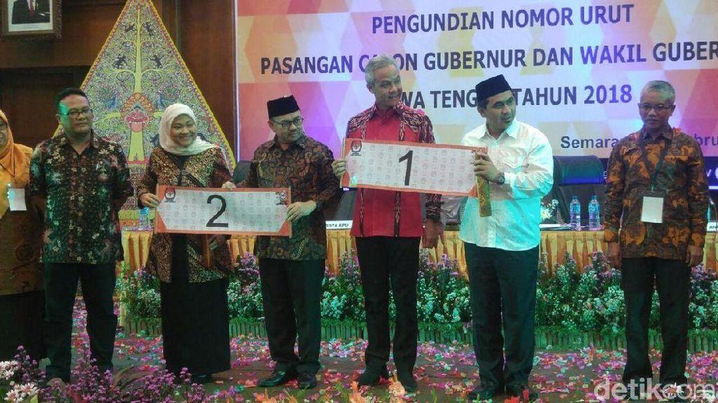 Nomor Urut Pilgub Jateng: Ganjar-Yasin No 1 dan Sudirman-Ida No 2