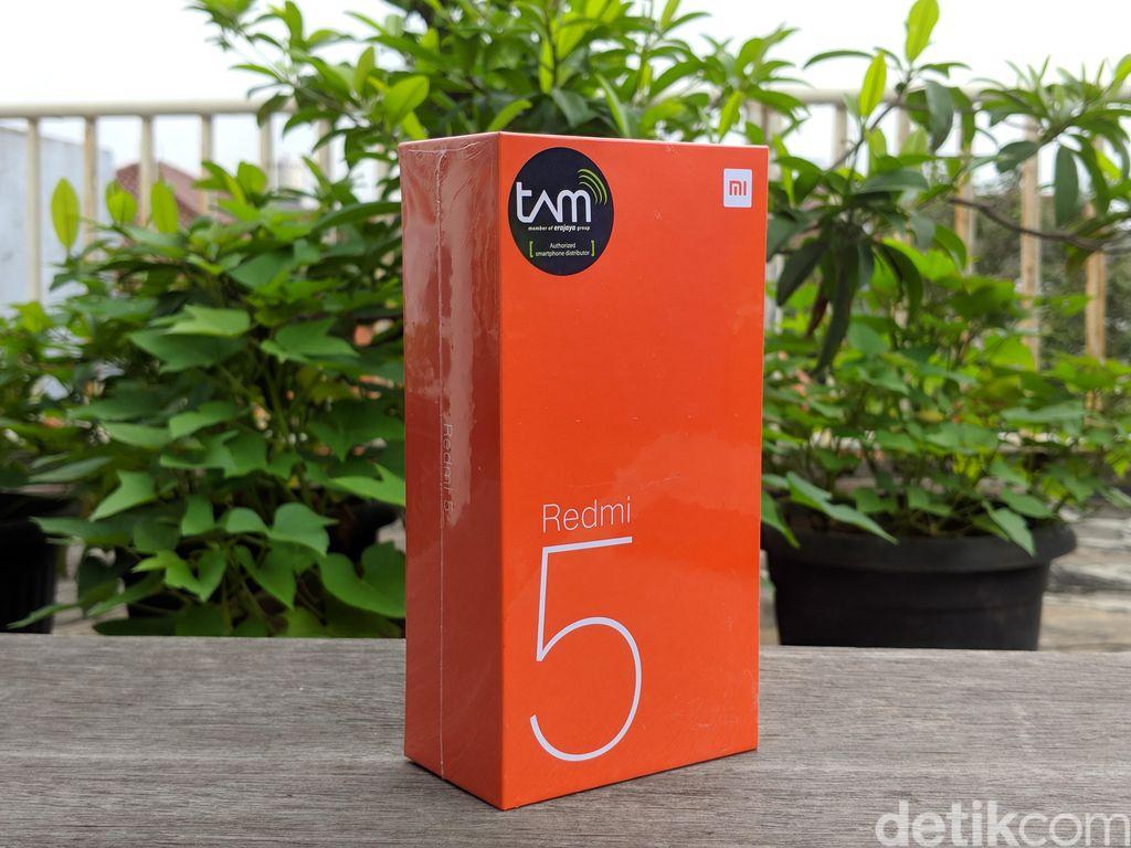 Seperti tipikal ponsel Xiaomi lain, kotak kemasan Redmi 5 berbalut warna oranye. (Foto: detikINET/Adi Fida Rahman)