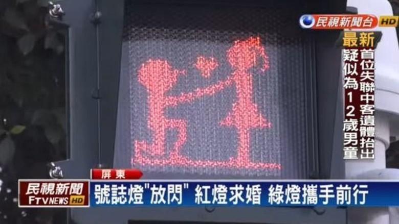 Awas Baper, Ada Lampu Lalin Unik di Taiwan dengan Ikon Pasangan