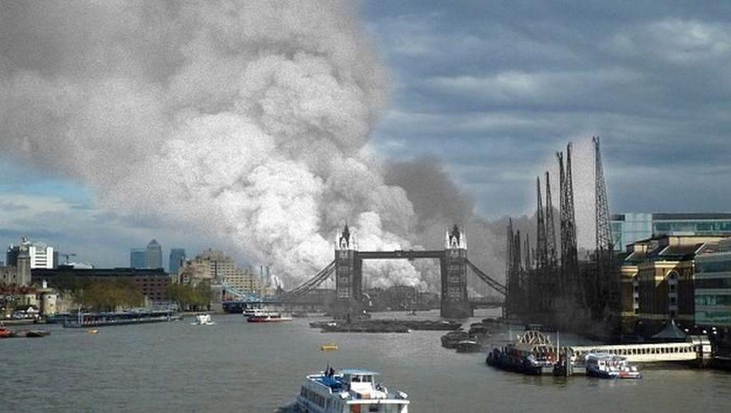 Potret Kontras Kehancuran Perang Dunia dan Kondisi Sekarang