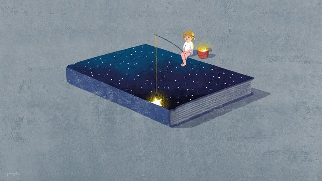 Lukisan Digital Keren Tentang Kekuatan Membaca Buku