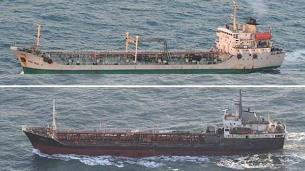 Kapal Korut Rye Song Gang 1 (atas) dan kapal Wan Heng 11 (bawah) berlayar terpisah usai melakukan aktivitas ilegal