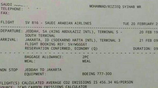 e-ticket kepulangan Imam Besar FPI Habib Rizieq Syihab yang beredar