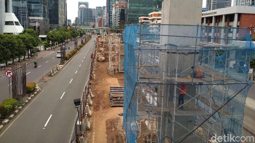 Penampakan Terkini Proyek LRT Jabodebek di Kuningan