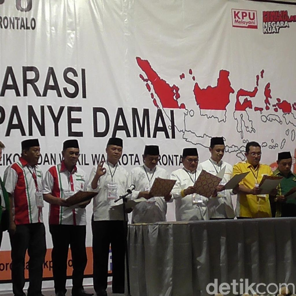 1 Paslon Pilwalkot Gorontalo Tak Hadiri Deklarasi Kampanye Damai