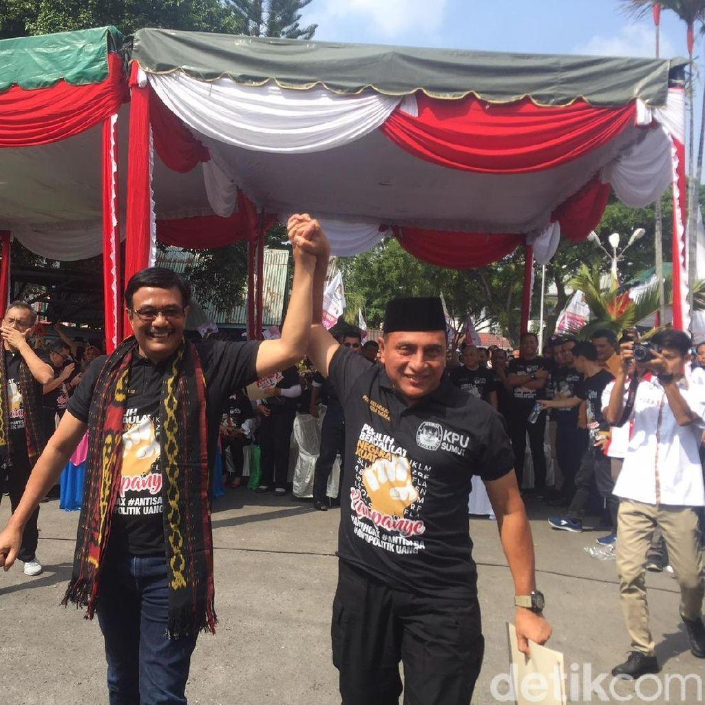 Deklarasi Damai, 2 Paslon Pilgub Sumut Diarak Keliling Medan